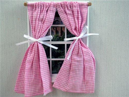 Baby & Kinderkamer Accessoires : Roze geruite gordijntjes