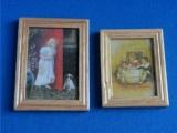 set van 2 schilderijtjes houten lijst