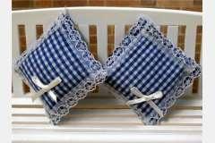 2 Blauwe wit geruite kussentjes